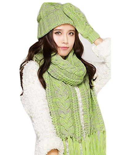 Withered - Ensemble bonnet, écharpe et gants - Femme Vert 2
