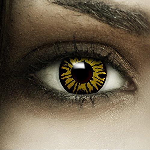 Farbige gelbe Kontaktlinsen Dschungel + Kunstblut Kapseln + Behälter von FXCONTACTS®, weich, ohne Stärke als 2er Pack - perfekt zu Halloween, Karneval, Fasching oder Fasnacht