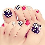 lzn 24 Teile/satz Künstliche Fußnägel Zehennägel Schönheit Toe Nails Tipps Toe Feet Falsche volle Nagelspitzen Maniküre-Kits