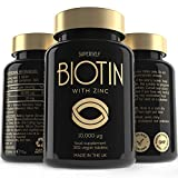 Biotin 10 000mcg with Zinc Tablets - High Strength 365 Biotin Capsules - Supports Normal Hair, Nails and Skin - 1-Year Supply - UK Made & Vegan - Natural Supplement Vitamin B7 for Men and Women