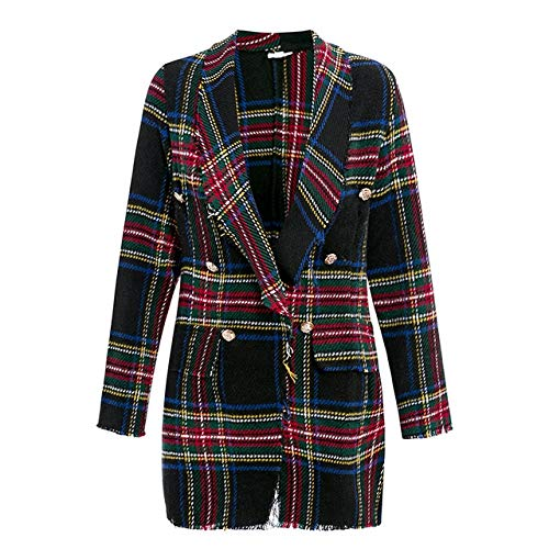 WHBDFY Brand Women Fashion Tweed Plaid Blazer Otoño Invierno Mujer High Street Chaquetas de Manga Larga Business Chic Coats XL Black