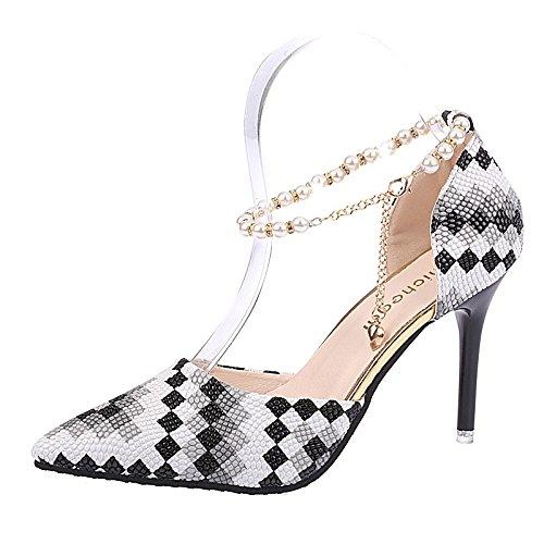 DIMAOL Damenschuhe PU-Komfort IM Sommer Heels Stiletto Heel Schuhe Plaid für Casual Mandel Fuchsia Schwarz, Schwarz, EU/US5.5 36/UK3.5/CN 35 (Kinder-schuhe Navy Plaid)