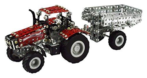 Tronico 09580 - Metallbaukasten Traktor Case IH Magnum 340 mit Kippanhänger, Maßstab 1:64, Micro Serie, rot, 580 Teile (Series 580)