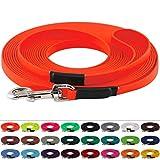 LENNIE BioThane Schleppleine, 13mm, Hunde 15-25kg, 10m lang, mit Handschlaufe, Neon-Orange, genäht