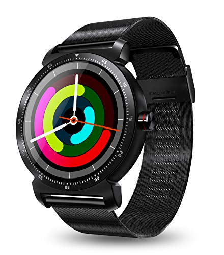 iCoverCase K88H Plus Bluetooth BLE4.0 Smart Watch with Stainless Steel Band, IP67 Sports Wrist Watch Smartwatch Pedometer Heart Rate Monitor IPS Screen for IOS iPhone Android Samsung Huawei (Black)