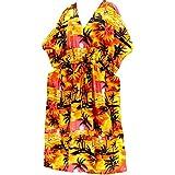 La Leela caftán largo vestido de ropa de playa kimono traje de baño de las mujeres cubrir naranja desgaste de la noche