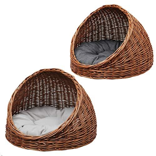 GalaDis 2-9-5 Katzenhöhle aus Weide mit Wendekissen/Katzenkorb/Katzenbett, sowohl für Katzen als auch kleine Hunde