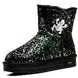 SHANGXIAN Damen Schneestiefel Sparkle Boots Glitzer Winterstiefel Gefüttert , green , 39