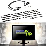 Lunartec Fernsehbeleuchtung: TV-Hintergrundbeleuchtung m. 4 Leisten für 117-177 cm, warmweiß, USB (LED Streifen)
