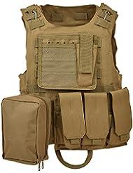Militar táctica Cruz Draw chaleco para juego de combate del ejército selva y actividades al aire libre, vest-tan-bag