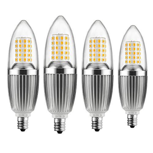 Infinite Power Kandelaber LED Leuchtmittel, 12W warmweiß 3300K LED-Kerze Leuchtmittel, Entspricht 85–100Watt Leuchtmittel, E12Kandelaber Boden, 1200Lumen LED-Lichtern, Torpedo Form (4Stück) (Led-belegungs-sensor-licht)