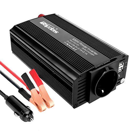 Bapdas 500W Convertisseur Transformateur DC 12V AC 220V-240V, Ports USB Dual 5V / 2.1A Corps en Aluminium avec Attaches de Batterie de Voiture et Chargeur de Voiture
