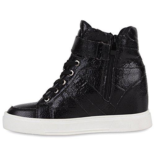 Damen Sneaker-Wedges Metallic Bequeme Sneakers Keilabsatz Schwarz