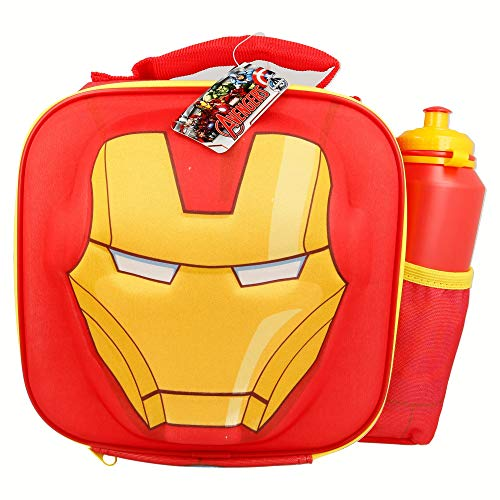 Boyztoys marvel avengers iron man 3d termica per il pranzo con bottiglia
