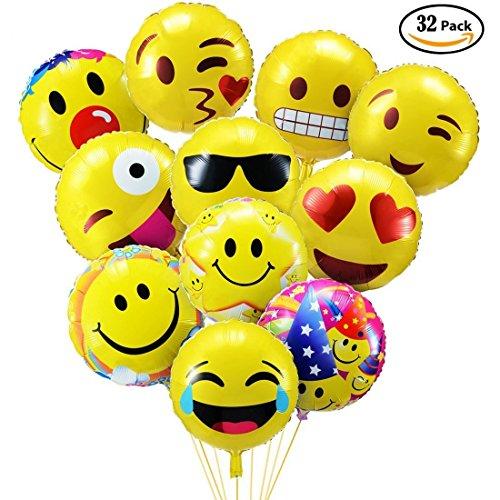 emoji luftballon PovKeever Emoji Party Luftballons 18 Inch Folie Helium Ballons für Happy Birthday Hochzeiten Party Jubiläumsbedarf Dekorationen, Packung von 32
