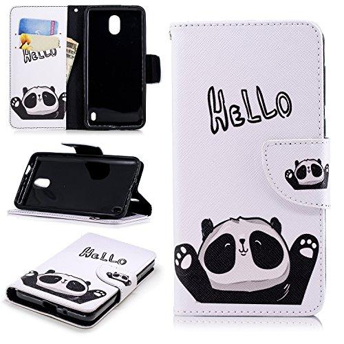 Cozy Hut Nokia 2 Hülle, PU Leder Wallet Case Anti-Scratch Shell Cash Pouch ID Card Slot Magnetverschluss mit Standfunktion Etui für Nokia 2 - Hallo Panda Nokia Glitter
