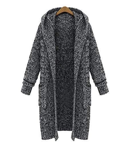 Fanessy Damen Strickjacke Geometrische Irregular Lose Pullover Mantel Outwear Tops Strickmantel...