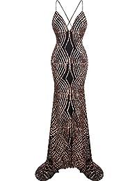 Angel-fashions Mujer tirante de espagueti Lentejuela cuello en V Sirena Largo vestido de bola