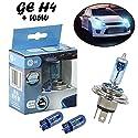 2x General Electric GE Sportlight Ultra +50% H4 60/55W 12V 50440SPU+W5W Blau - Weiß Ersatz Halogen Birne für Scheinwerfer, Fernlicht, Abblendlicht, Nebelleuchte vorne + 2x W5W blau - E-geprüft