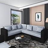 Bharat Lifestyle Cosmo Plus Fabric L Shape Acacia Wood Sofa 3+2+C (Black Grey)