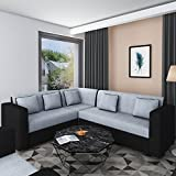 #6: Bharat Lifestyle Cosmo Plus Fabric Black Grey L Shape Sofa (3+2+C)