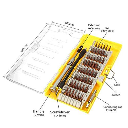 MECO 60 in 1 Cacciavite Precisione Riparazione Strumento Kit Diparazione per Tablet, Computer Portatili, Telefoni Intelligenti, Strumenti Diparazione Elettronici Orologi PC MacBook e Altri Dispositivi Giallo