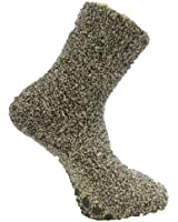 4 Pairs Men's Grey Marl Non-Skid Slipper Socks size 6-12 EUR 39-47