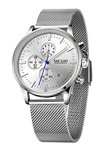 Megir Analoge Chronograph-Uhr mit drei kleinen Zifferblättern, Armband in Flechtoptik, phosphoreszierend, automatischer Datumsanzeige, Quarz