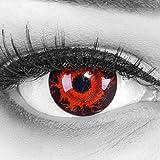 Funnylens 1 Paar farbige rote schwarze Crazy Fun Cataclysm Jahres Kontaktlinsen.Topqualität zu Halloween und Karneval mit gratis Kontaktlinsenbehälter ohne Stärke!