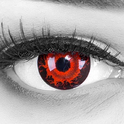 bige rote schwarze Crazy Cataclysm Vampir Zombie Jahres Kontaktlinsen perfekt zu Halloween, Karneval, Fasching oder Fasnacht mit gratis Kontaktlinsenbehälter ohne Stärke! ()
