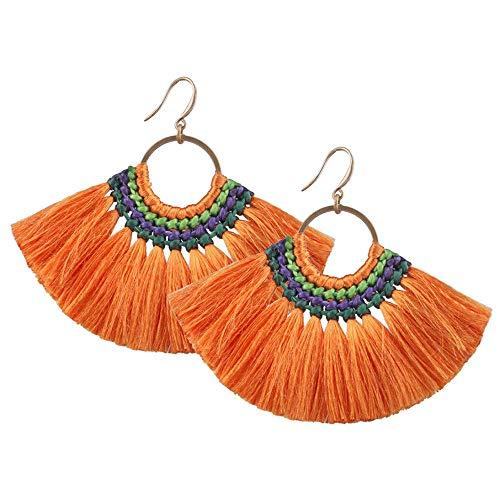 Heatnine Mode große fächerförmige Quaste Ohrringe,Orange