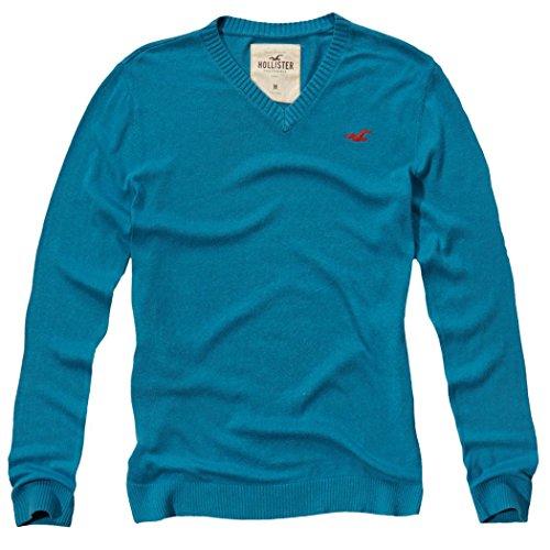 hollister-herren-v-neck-icon-sweater-pullover-grosse-medium-turkis-624370552