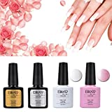 Elite99 Kit Manicura Francesa Uñas de Gel Laca Shellac Esmalte Semipermanente Color Gel + Top&Base Coat 4pcs Laca Soak Off Top Coat Base Coat UV LED Manicura Arte 7.3ml