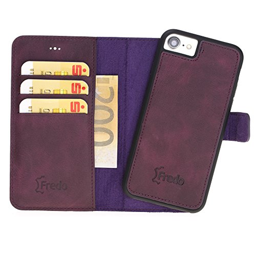 FREDO iPhone 7/8 Hülle Leder Abnehmbare 2 in 1 Handyhülle inkl. Kartenfächer für Apple iPhone7 / 8 Handytasche/Cases mit Magnet/Hand Made in Europe (Lila)