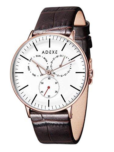 Adexe They Herren Armbanduhr mit Echtleder-Armband, dezentrale Sekunde, Wochentag, Datum, elegante Herrenuhr - 10000110006-040-026-072, Farbe4