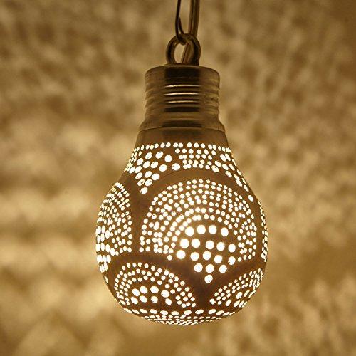 Orientalische Lampe marokkanische Hängelampe Martil Silber in Glühbirnenform | Messing-Lampe echt versilbert | Prachtvolle Pendellampe für tolle Lichteffekte wie aus 1001 Nacht