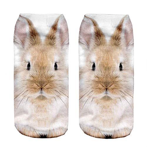 ZENGYAN D Print Rabbit Socks Women Casual Socks Unisex Low Cut Ankle Socks 60cm (Champion Low-cut-socken Herren)