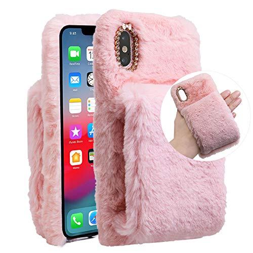 LCHDA kompatibel mit Plüsch Hülle iPhone 6 Plus 6S Plus Flauschige Hasen Fell Hülle Handyhülle Mädchen Süße Kaninchen Pelz Niedlich Hase Handytasche Schützend Stoßfest TPU Silikonhülle-Rosa