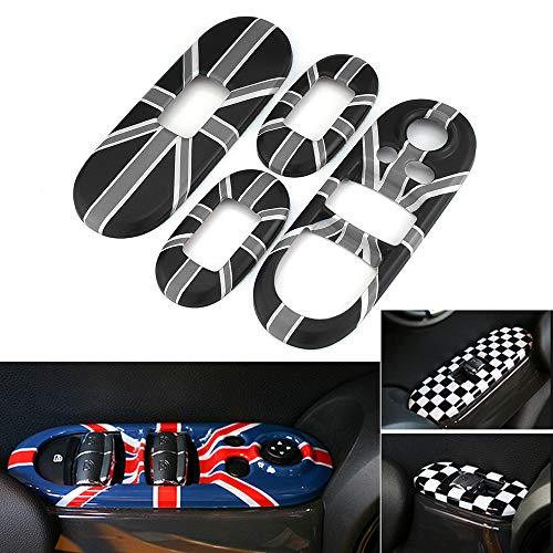 Heinmo Für Mini Cooper F55 Styling Union Jack Auto Fenster Bedienfeld Abdeckung Aufkleber Fenster Lift Abdeckung Dekoration Aufkleber 4 stücke (Gray Rice)