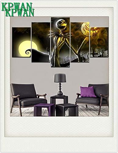 KPWAN Leinwanddrucke 5 Stücke Friedhof Halloween Urlaub Jack Skellington Skeleton Bild Moderne Malerei Wohnkultur Wandkunst Poster (B) Mit Rahmen-Leinwanddrucke