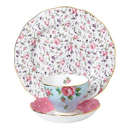 Royal Albert 40034971Modern Vintage Collection Teetasse, Untertasse, Teller, blau, pink, weiß Alte Rose Fine China