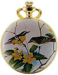 KS Reloj de Bolsillo Mujer con Cadena Vintage Colgante Cuarzo analógico Color Dorado KSP077