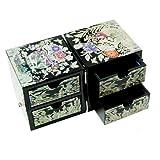 Madre-de-Pearl-Negro-gra-y-pino-rbol-diseo-2-Cubic-caja-de-tesoro-de-la-laca-de-recuerdo-de-madera-joyas-Joyero-en-el-pecho-organizador