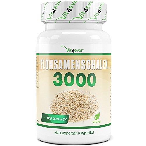 Flohsamenschalen – 360 Kapseln – 3000 mg pro Tagesportion – 100% Psyllium Husk – Flohsamen fein gemahlen – Laborgeprüft – Vegan – Premium Qualität – Vit4ever