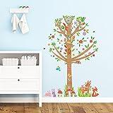 Decowall DM-1603 Groß Baum im Wald Waldtiere Tiere Wandtattoo Wandsticker Wandaufkleber Wanddeko für Wohnzimmer Schlafzimmer Kinderzimmer