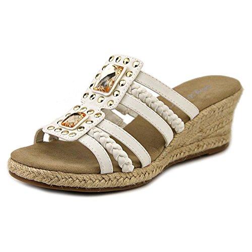 Easy Street Bazinga Damen Schmal Kunstleder Keilabsätze Sandale White
