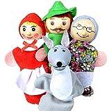 4 PCS Bebé niños Little Red Riding Hood estilo mano dedo paño marionetas Navidad regalo juguetes