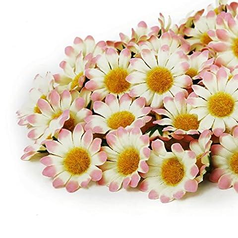 100 x Marguerite Gerbera Artificielle Têtes de Fleurs pour DIY Mariage Partie - Rose Clair