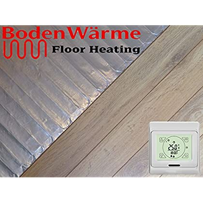 Electric Under Laminate/Wood Foil Underfloor Heating Mat Kit (15m sq, Touch Screen Thermostat)