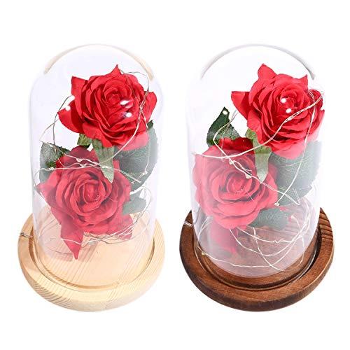 USB-Lade Red Rose Glaskuppel LED-Lampe, Schreibtisch Rose Kupferdraht Licht zum Valentinstag Geburtstagsgeschenk Dekoration (Color : Brown Base) -